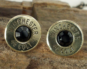 Winchester Colt 45 - Ultra Thin - Bullet Earrings - Black Magic