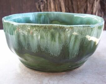 SALE!  Green Drip Pottery Bowl  ~  Green Bowl