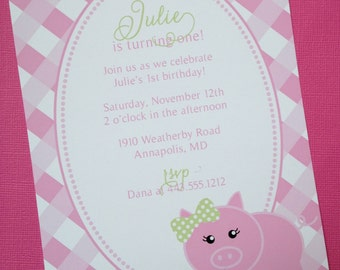 PRINTABLE Pink Little Piggy Birthday Party Invitations
