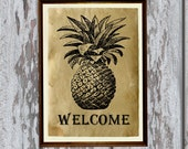 Pineapple welcome print Antique paper Antiqued decor AK257