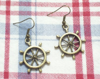 Antiqued Brass Ship Wheel Earrings