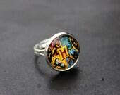 Hogwarts Adjustable Silver Ring