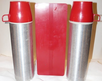 Ribbed Aluminum Thermos Set Tan and Cream Vintage