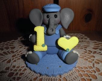 "Polymer Clay Elephant-Personalized ""Baby Boy's First Birthday"" Elephant Cake Topper/Gift/Keepsake"