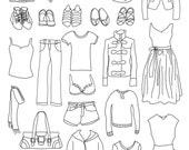 Set of Women's Clothing Illustrations -  25 Original Hand Drawn Vector Graphics