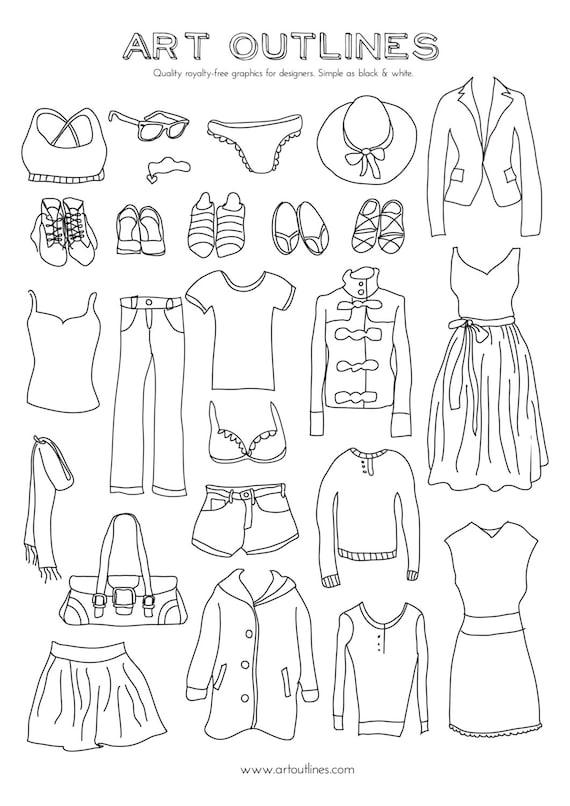 Set Of Women 39 S Clothing Illustrations 25 Original Hand