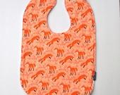 fox Toddler bib cotton terry cloth orange