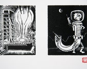 Any 2 Letters, One Page - Retro Science Fiction Alphabet Letters, Linocut (woodcut-ish) print