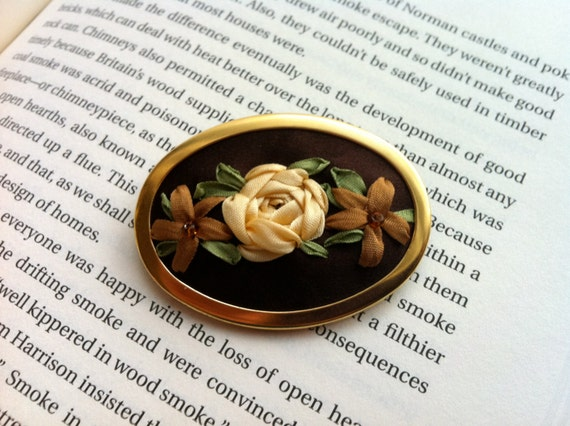 SALE Embroidered Pin, Brown, Copper and Cream Beaded Rose Brooch - Silk Ribbon Embroidered Jewelry by BeanTown Embroidery