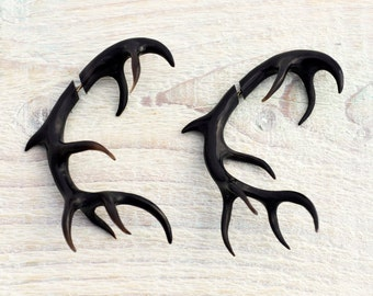 Antler Deer Fake Gauges Earrings Black Horn Tribal Earrings - Gauges Plugs Bone Horn - FG067 H G1