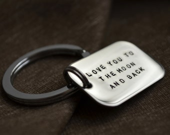 Personalized Key Chain - Hand Stamped - Customize - Stainless