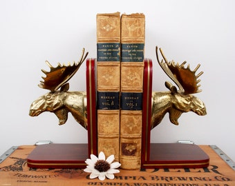 vintage brass moose on wood base bookends