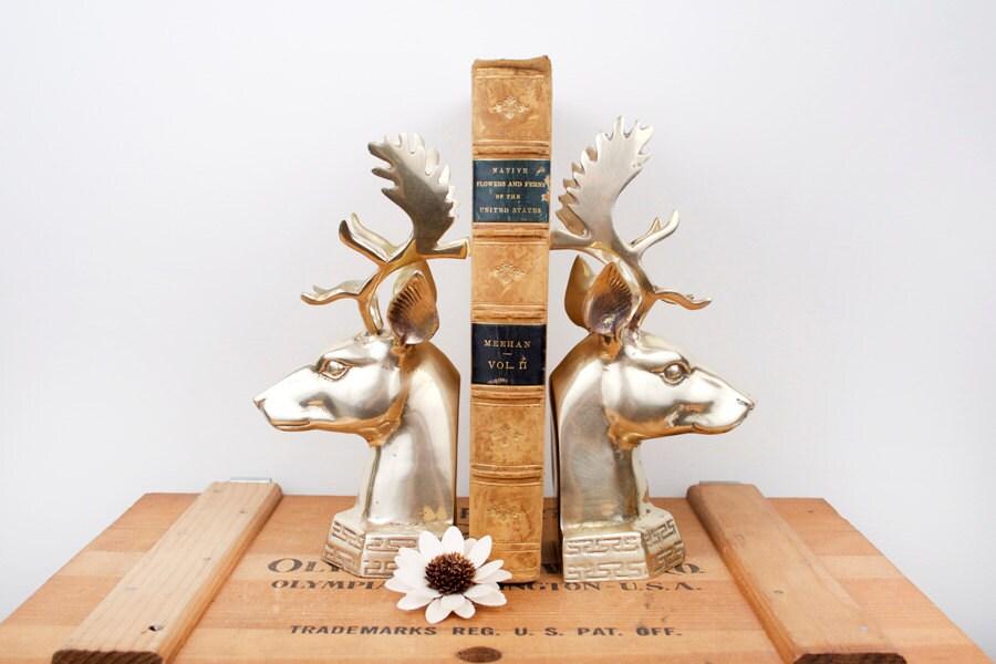 Vintage brass large deer head bookends - Deer antler bookends ...
