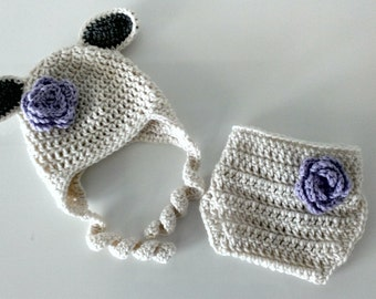 Crochet Baby Girl Lamb Sheep Hat and Diaper Cover Set, Photography Prop, Sizes Newborn and Infant – Aran & Pale Plum