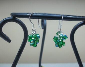 Emerald Green Dangle Earrings Cluster Earrings Crystal Earrings Crystal Emerald Earrings 14kt White Gold or Sterling Silver BuyAny3+1 Free