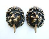 English Brass Lion Door Knockers - Set of 2
