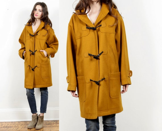 mustard toggle coat jacket // vintage 80s Forenza // yellow