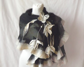 Wavy ruffled Shawl , butterfly scarf, Felt Scarf, white black gold, wool and silk, Muga silk,