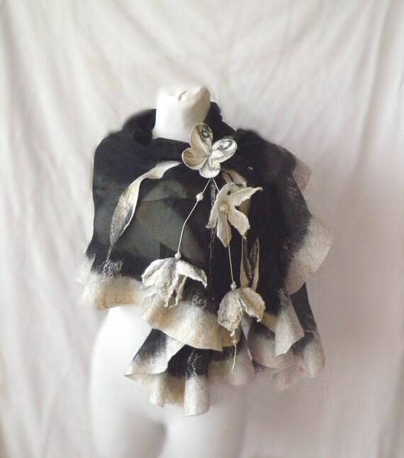 Wavy ruffled Shawl , butterfly scarf, Felt Scarf, white black gold, wool and silk, Muga silk,
