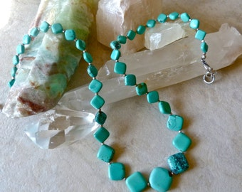 Elegant Graduated Natural Turquoise Stone Necklace - Karen Hill Tribe Silver Artisan Necklace