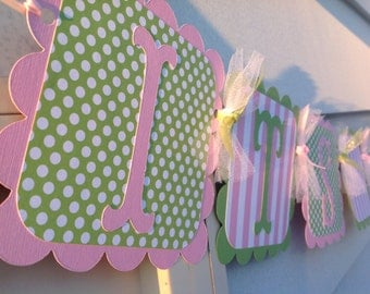 Pink and Green Its A Girl Baby Shower Banner