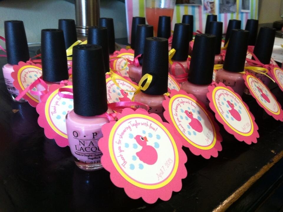 Rubber Ducky Baby Shower Favor Tags Hot Pink And Yellow
