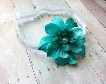 newborn photography prop - Newborn baby girl white lace elastic headband with turquoise flower -photo prop-baby shower gift