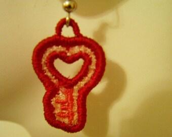 SALE Lace Pink Key to My Heart Earrings