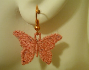 SALE Pink Potpourri Butterfly Lace Charm Copper Earrings