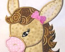 Farm Friends For Girls - Horse Face 01 Machine Applique Embroidery Design - 4x4, 5x7 & 6x8