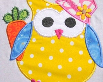 Easter Bunny Owl 03 Machine Applique Embroidery Design - 4x4, 5x7 & 6x8
