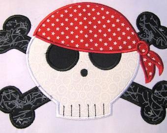 Pirate Skull 02 Machine Applique Embroidery Design - Pirate Skull Applique Design - Applique Pirate Skull Design - Applique Pirate Design