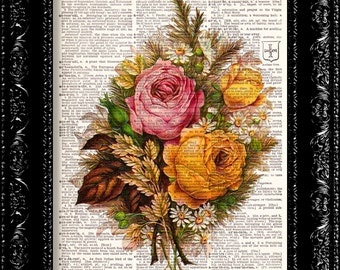Vintage Flowers 14 - Vintage Dictionary Print Vintage Book Print Page Art Upcycled Vintage Book Art