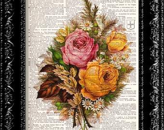 Vintage Flowers 14 - Vintage Dictionary Print Vintage Book Print Page Art Upcycled Vintage Book Art