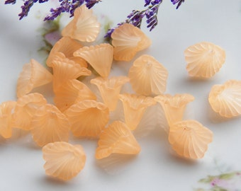 12mm Light Tangerine Ruffled Calla Lily Frosted Acrylic Flower Beads, 12 PC (INDOC8)