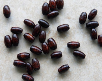 12X8mm Large Hole Dark Brown Oval-Barrel Wood Beads, 50 PC (INDOC8)