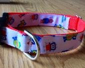 1 inch wide adjustable side release dog collar - robots - red webbing - size medium