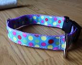 1 inch wide adjustable side release dog collar - pastel polka dots - lavender webbing - size medium