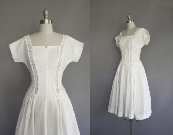 50s vintage afternoon wedding dress / size XS - S