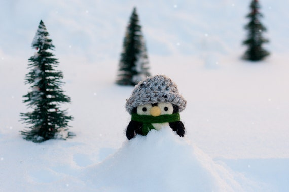 Jacob, Needle Felted Penguin with convertible hat and nest