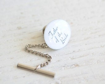 Tie Tack - Father of the bride wedding day accessory -  white and black script font - Handmade in the USA