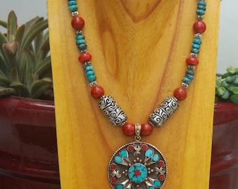 Beautiful Large Handmade Tibetan Pendant with Silver Repousse Column Beads