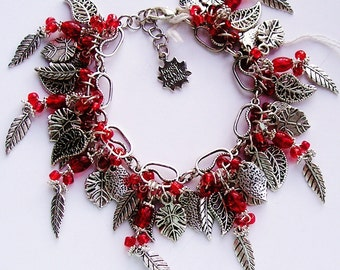 Red Charm Bracelet Silver Chunky Cha Cha Bracelets with Leaves & red glass beads Handmade One of a Kind OOAK