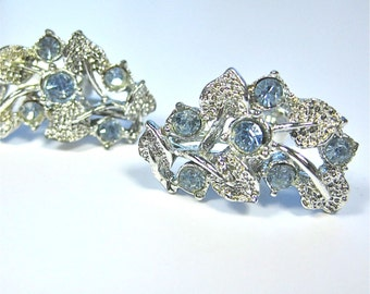 Vintage Earrings in Silver and pale blue crystals, Rhodium plated earrings, something blue