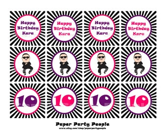 Gangnam Style Printable DIY 2 inch Birthday Toppers, Favor Bag Tags, Stickers - Psy, Purple, Pink, Black, White