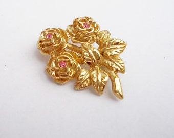 Vintage Rose Design Gold Tone Brooch with Pink Rhinestone, UK Seller
