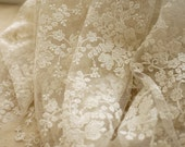 Ivory bridal lace fabric, embroidered lace, wedding dress lace fabric, retro embroidered floral lace fabric for bridal gown, white veil