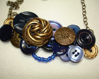 Vintage Jewelry -Button Necklace - Vintage Buttons - Gold Metal Buttons - Cobalt - Blue Buttons - Blue Necklace - FANCY BLUE