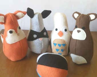 Woodland Creatures Bowling Set - Woodland Plush - Woodland Toys - Baby Toy