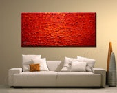 Abstract Red Painting | Oil Painting | Modern Art  Red Ready to Hang Frame Fine Original Art Red Texture Impasto Thick paint wall decor